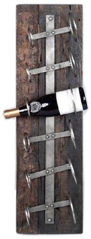 Porte bouteille en bois mural