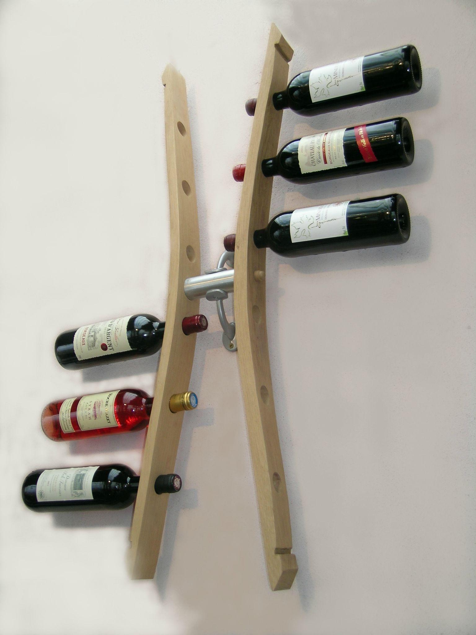 Range bouteille bois mural