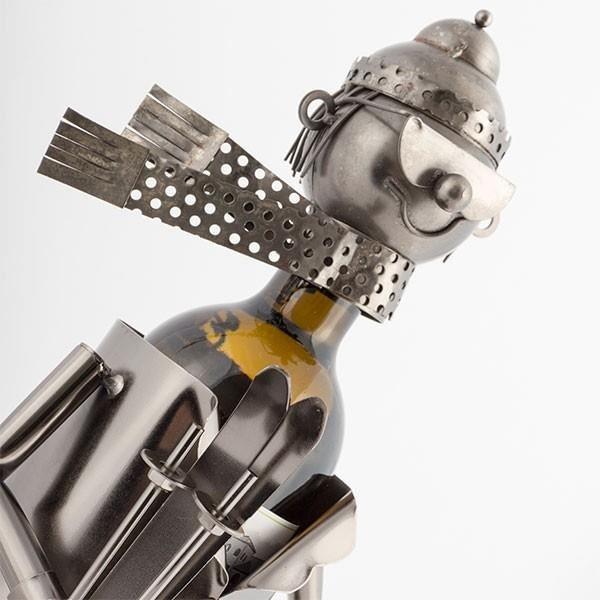 Porte bouteille metal skieur