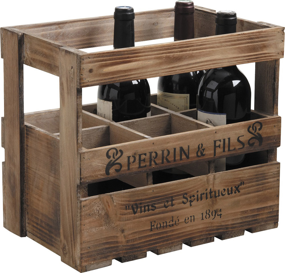 Rangement bois bouteille de vin