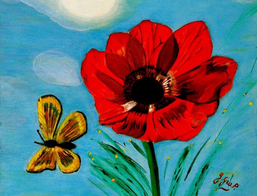 Peinture acrylique sur toile papillon