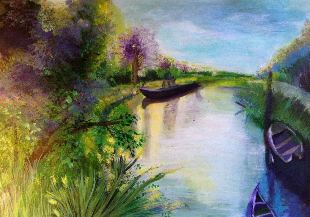 Peinture acrylique riviere
