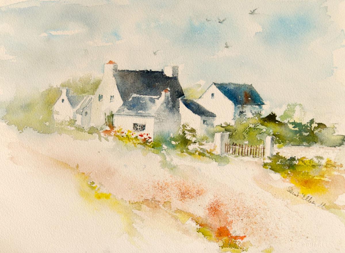Peinture aquarelle maison