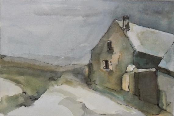 Peinture maison sous la neige