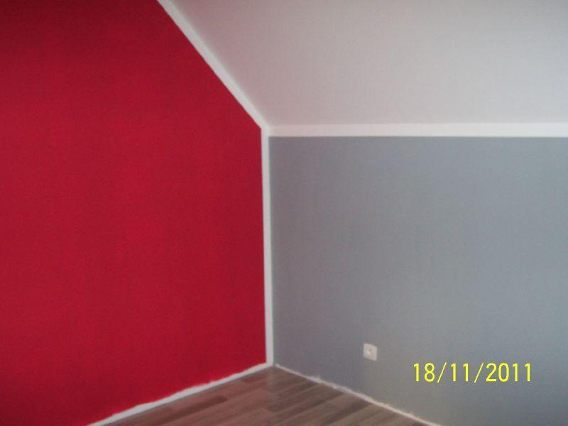 Peinture maison rouge et gris