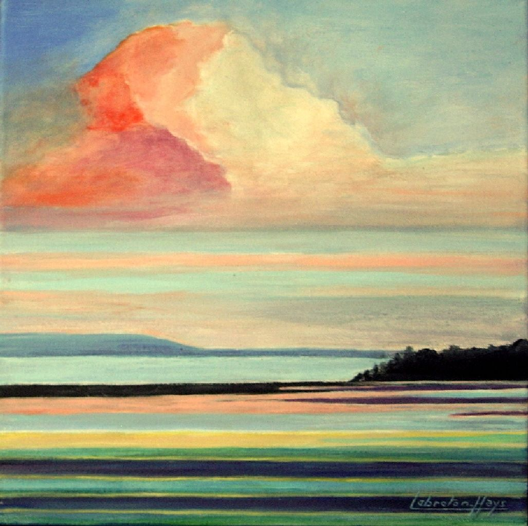 Peinture acrylique sur toile coucher de soleil