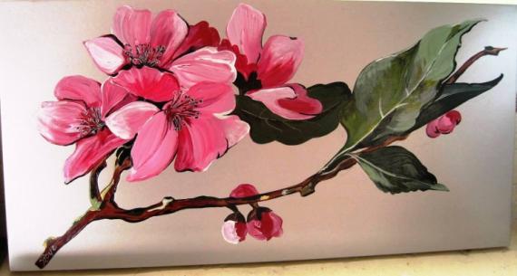 Peinture acrylique fleurs