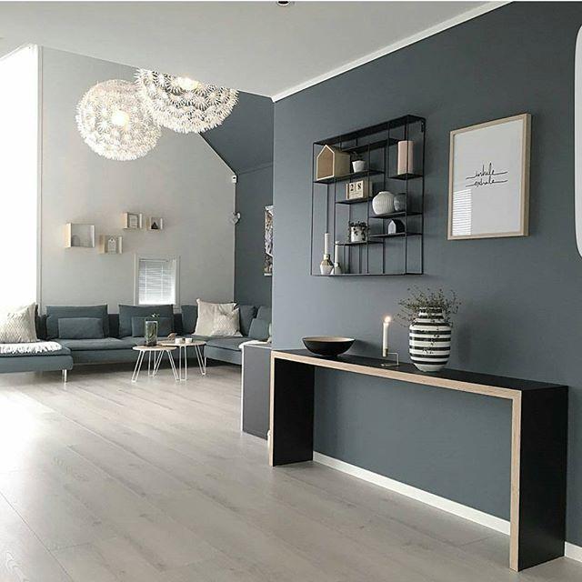 Décoration peinture gris et blanc salon salle à manger