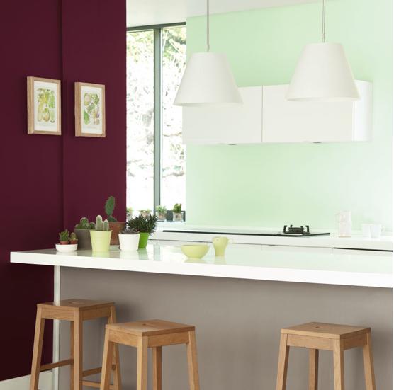 Peinture cuisine couleur prune