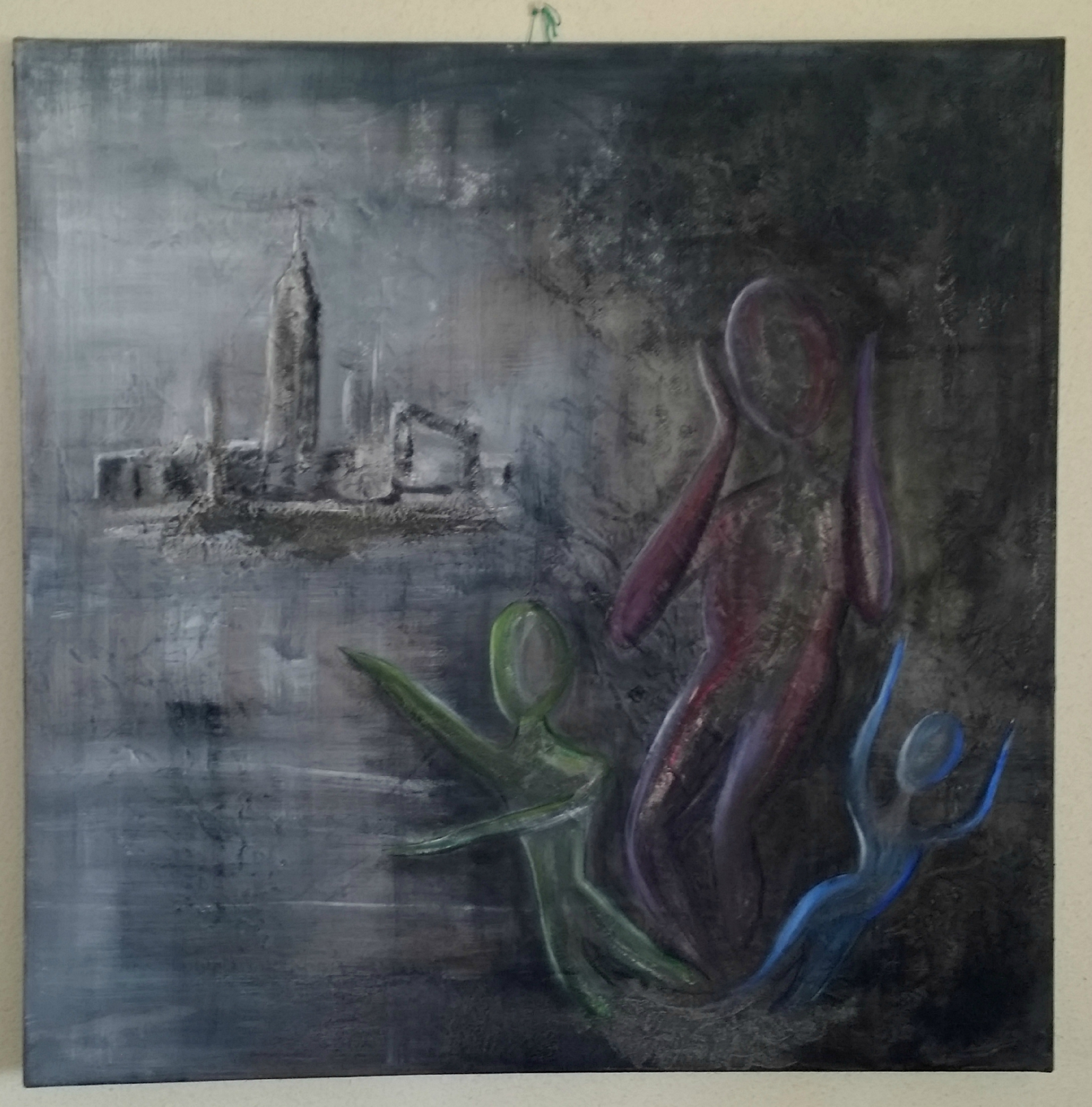 Peinture acrylique sur toile cirée