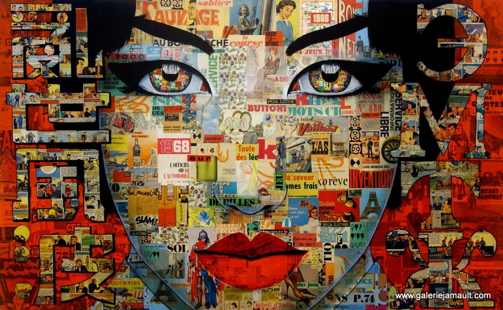 Collage et peinture acrylique sur toile