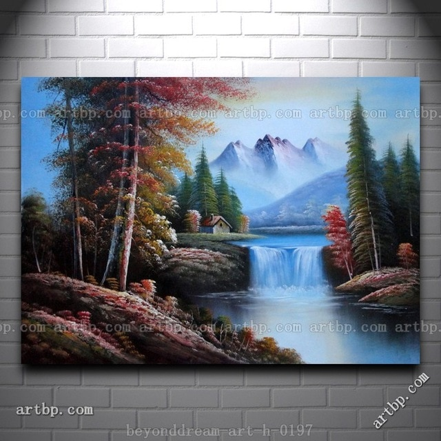Peinture acrylique sur toile paysage montagne