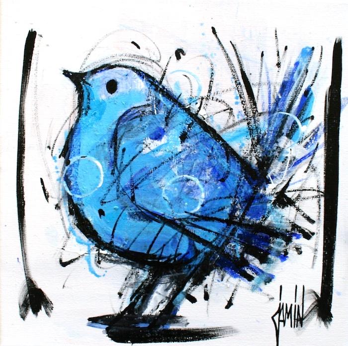 Peinture acrylique oiseaux