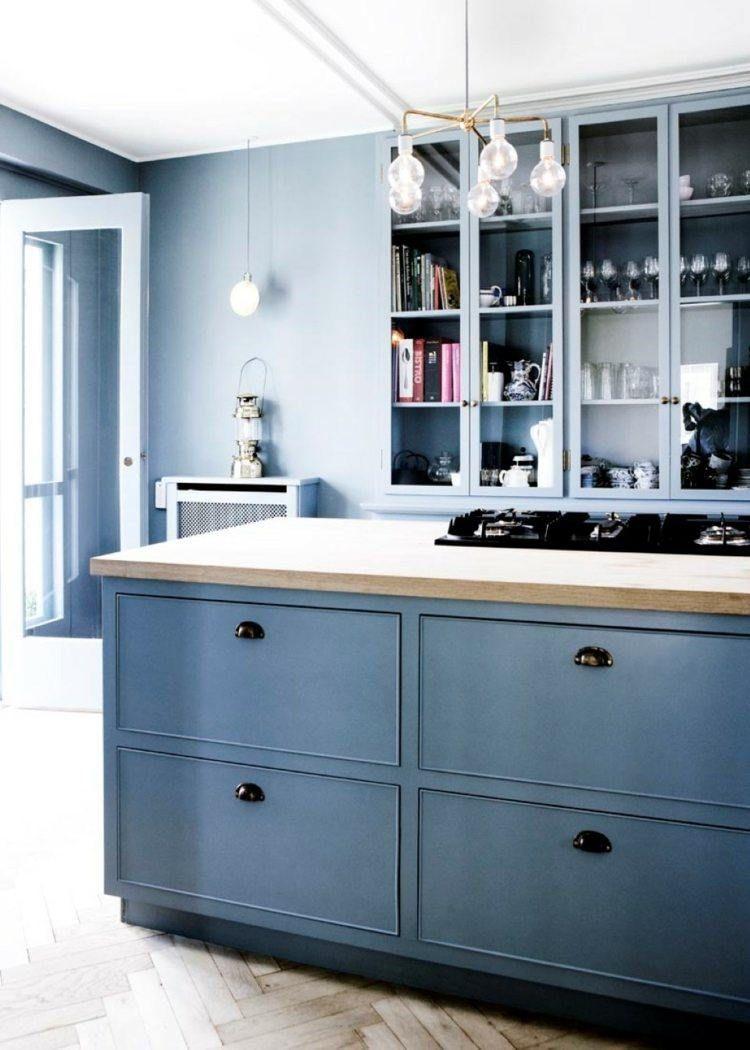 Peinture cuisine bleu gris