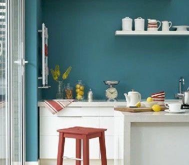 Cuisine blanc peinture bleue