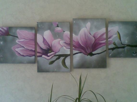 Peinture Acrylique Sur Toile Fleurs Livreetvinfr
