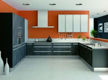 Peinture cuisine orange et gris
