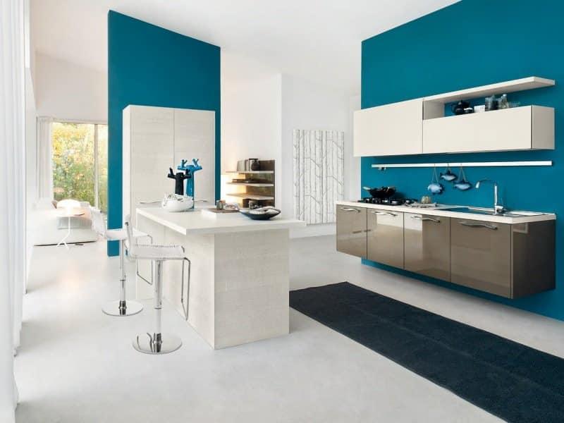 Cuisine blanche peinture bleu canard - Livreetvin.fr