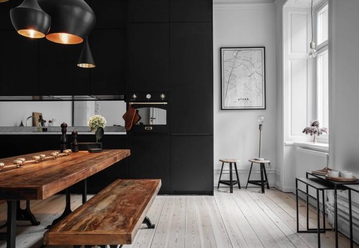 Peinture cuisine noir et bois