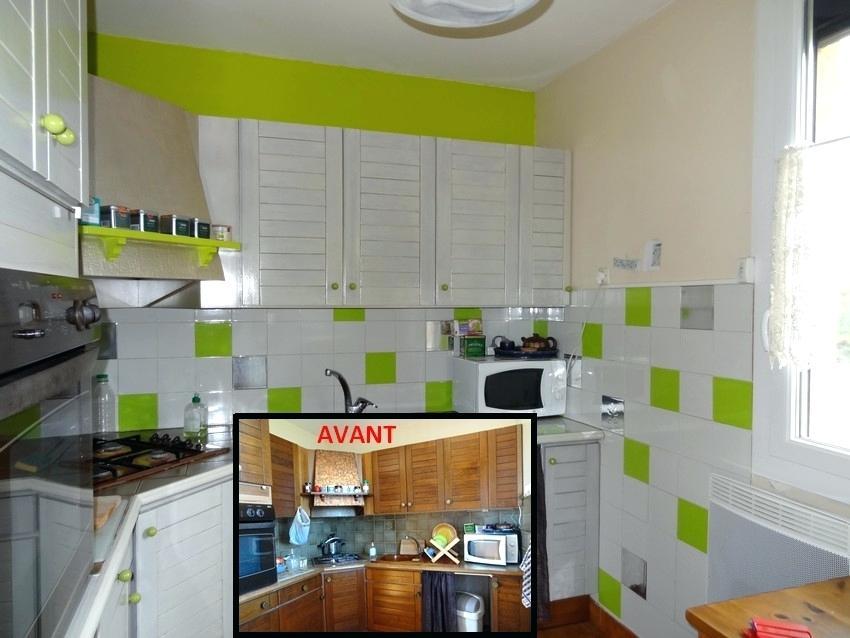 Peinture carrelage cuisine vert anis