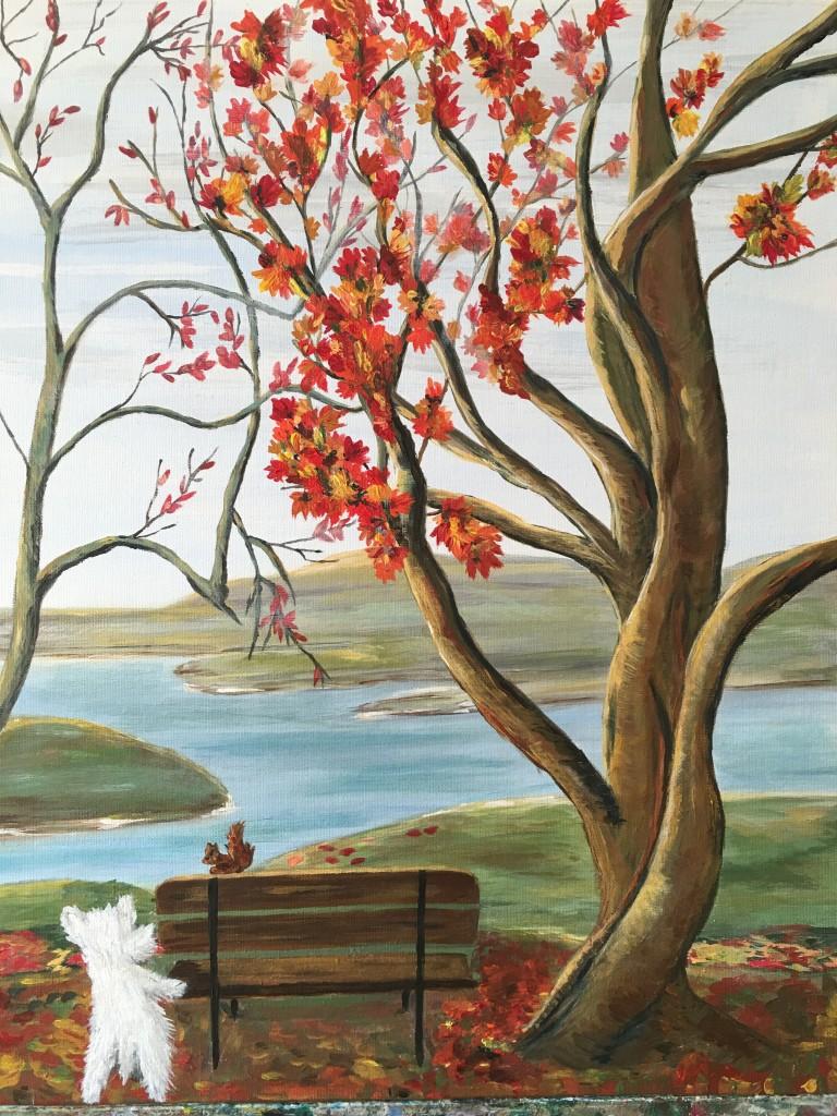 Cour de peinture acrylique sur toile