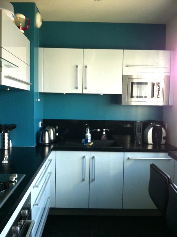 Peinture bleu canard dans cuisine