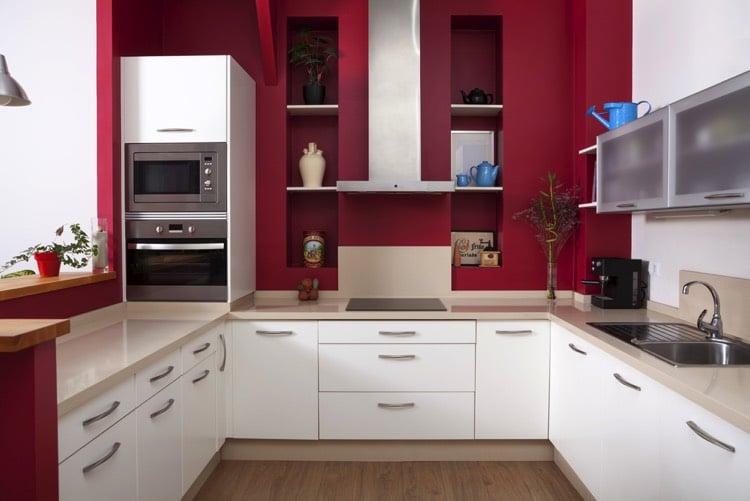 Peinture cuisine rouge bordeaux