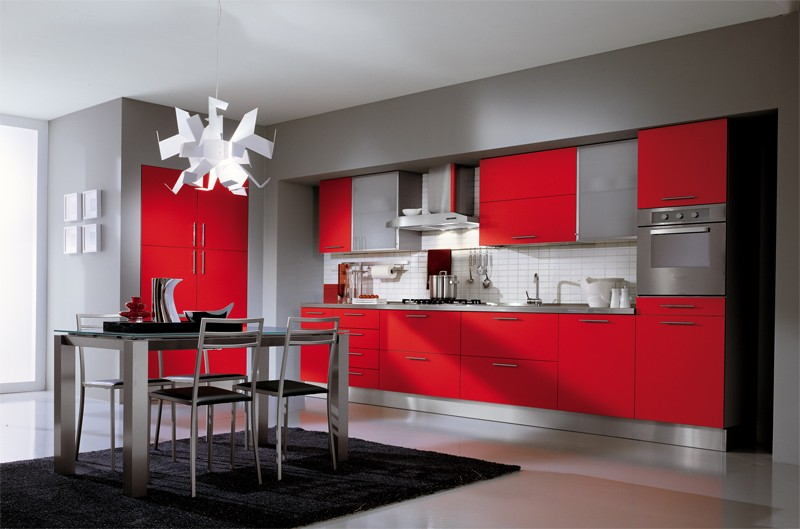 Merveilleux Peinture Cuisine Gris Et Rouge