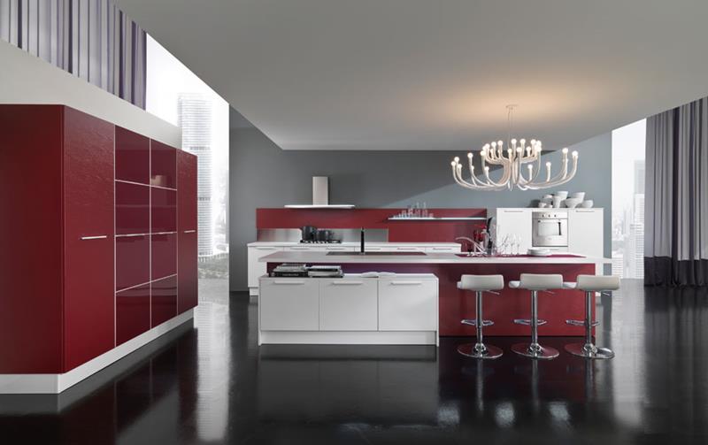 Peinture mur cuisine rouge