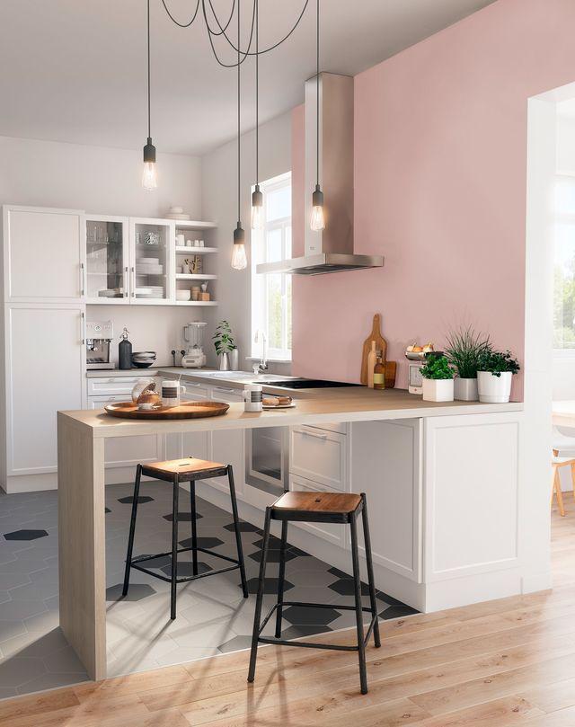 Cuisine blanche peinture rose