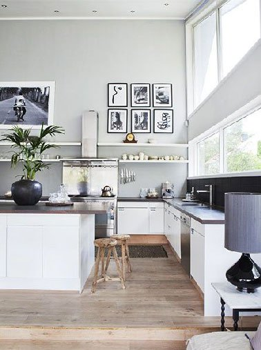 Peinture cuisine blanche et grise
