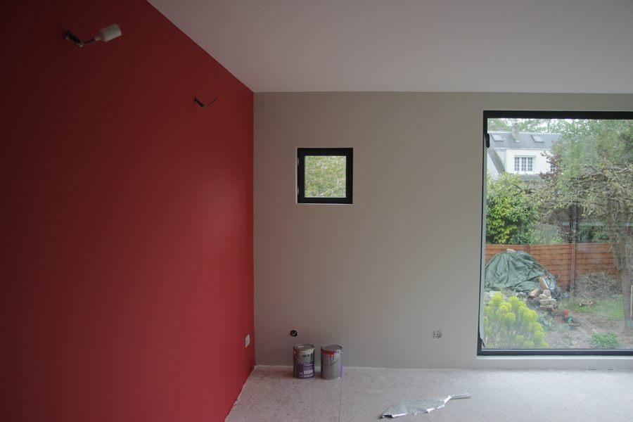 Deco peinture rouge et gris - Livreetvin.fr