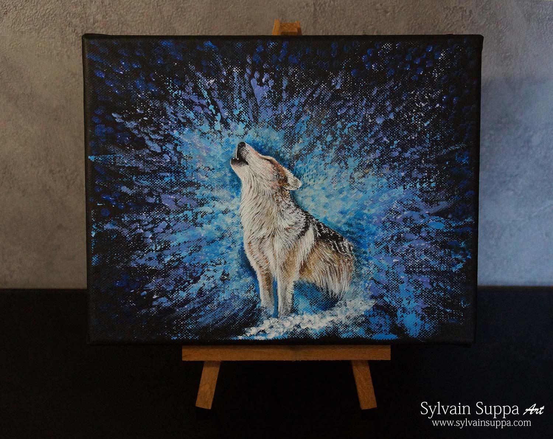 Peinture acrylique loup
