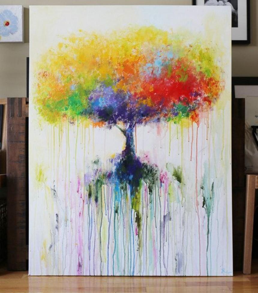 Exemple de peinture acrylique sur toile