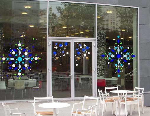 Peinture decoration vitrine noel