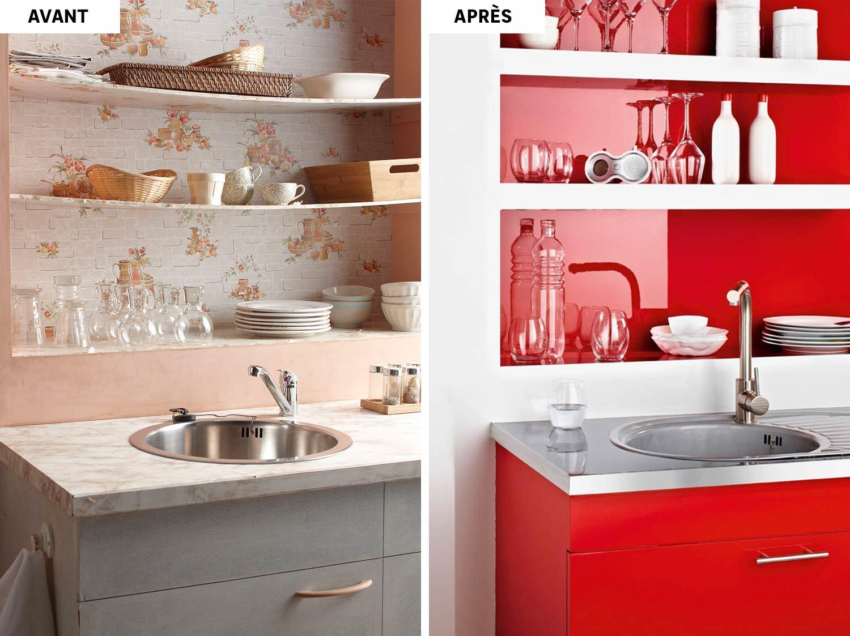 Peinture rouge dans la cuisine
