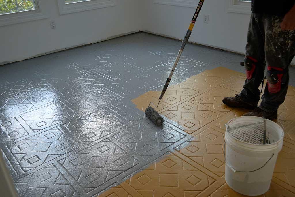 Peinture carrelage sol de salle de bain