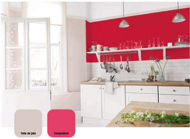 Peindre meuble cuisine en rouge laqué