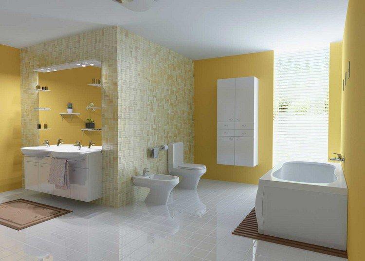 Peinture carrelage salle de bain orange