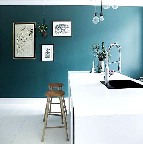 Couleur Vert Pour Cuisine: Peinture Bleu Dans Une Cuisine