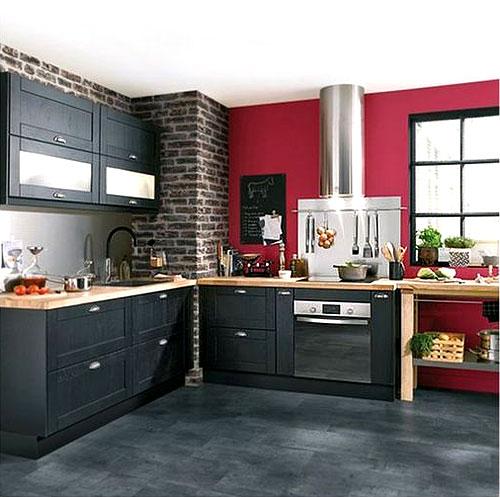 Peinture rouge pour la cuisine