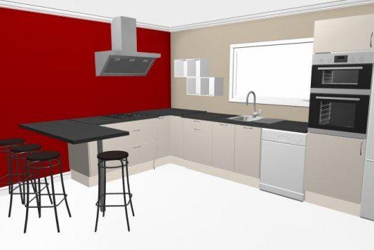 Peinture rouge dans une cuisine