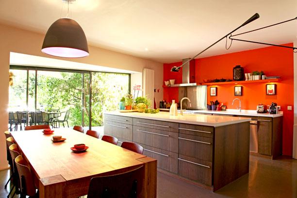 Peinture cuisine rouge orange