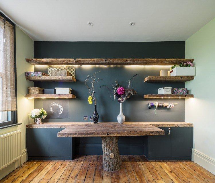 Peinture mur avec cuisine bois