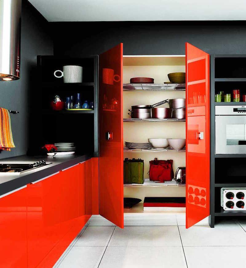 Couleur de peinture pour cuisine meuble rouge