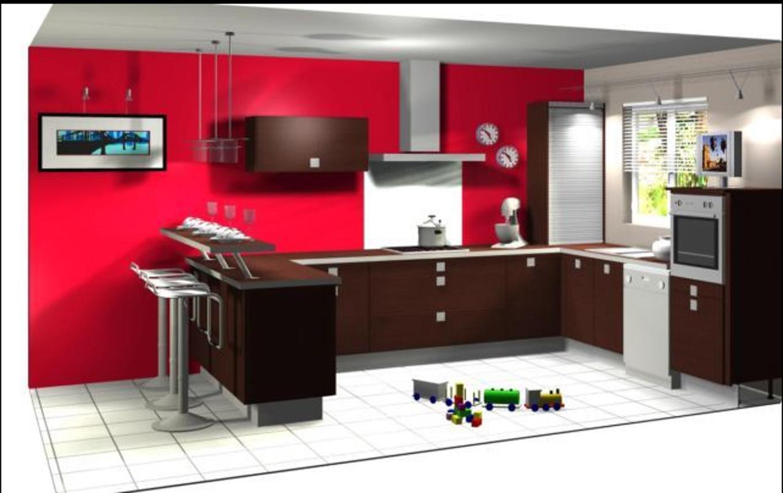 Idee Peinture Cuisine Meuble Rouge