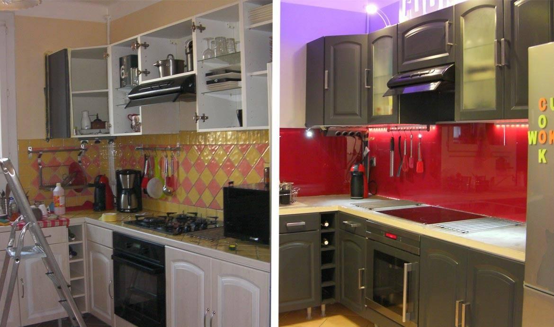 Peinture meubles cuisine avant apres