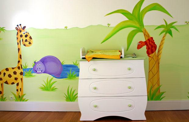 Déco peinture murale chambre bébé
