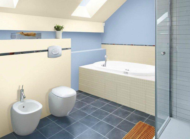 Peinture carrelage salle de bain bleu