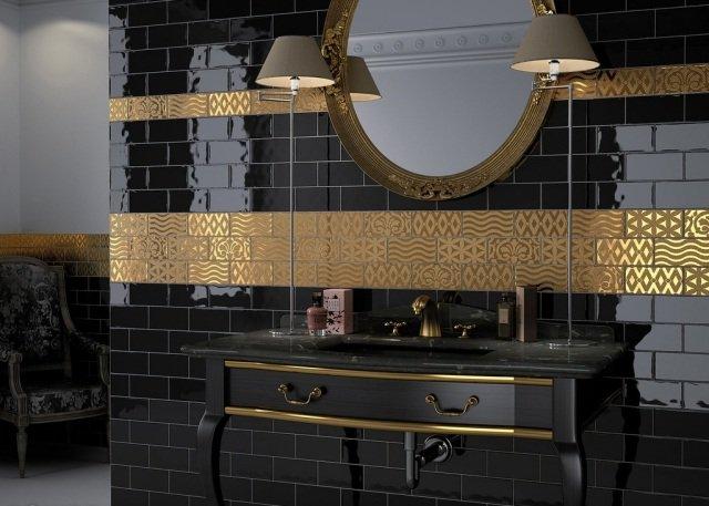 Peinture carrelage salle de bain doré